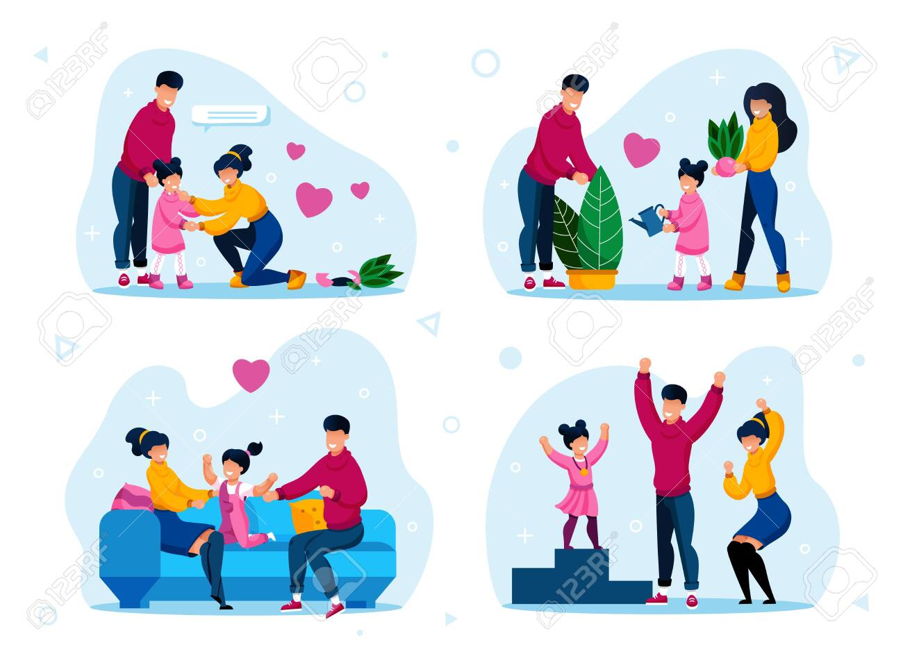 Happy Family Daily Life, Parenthood Activities Trendy Flat Vector Concepts Set. Parents Calming Down Daughter, Watering Plant, Relaxing at Home, Celebrating Kid Victory in Sport Isolated Illustrations - 143153935