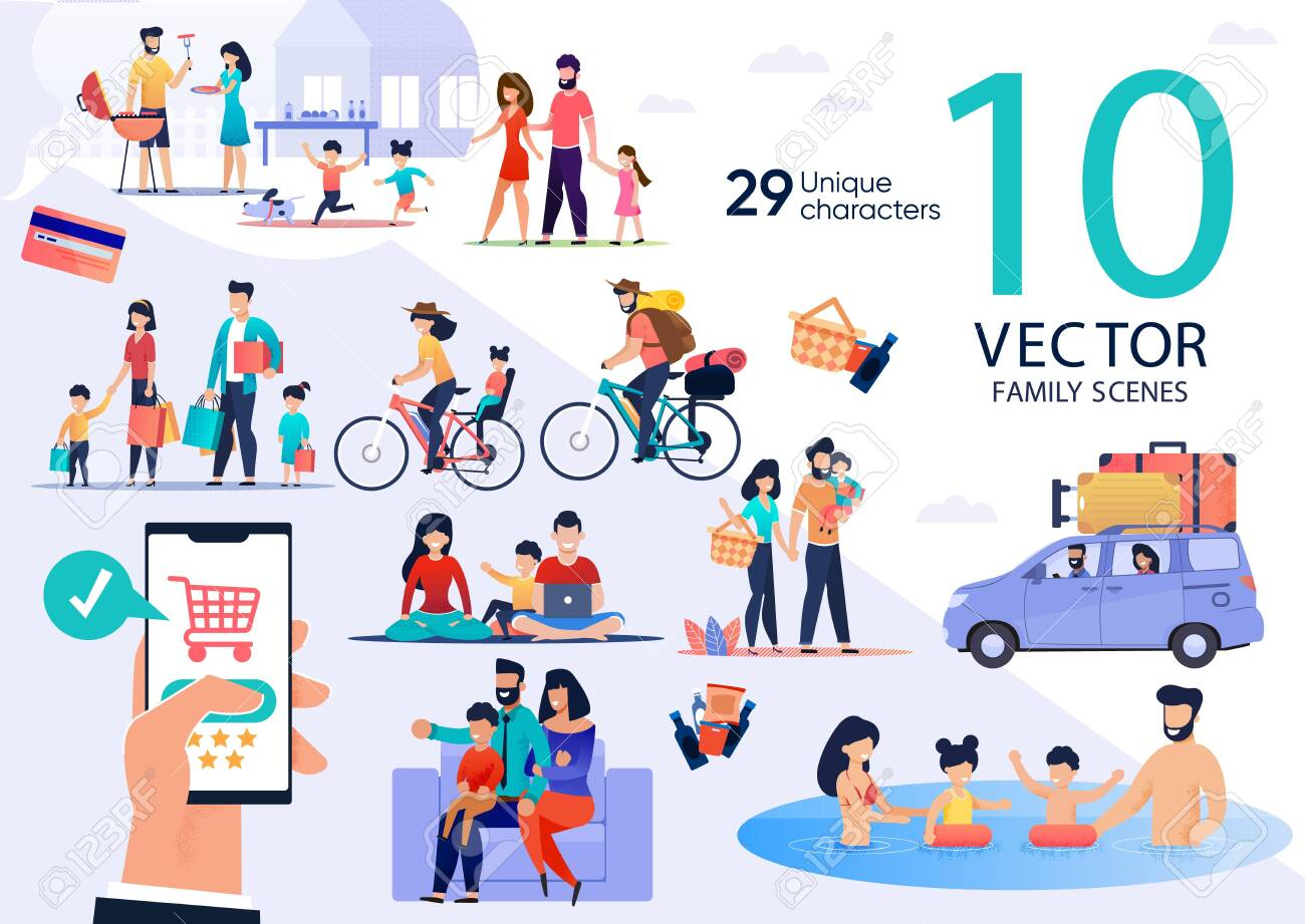 Family Summer Vacation Leisure and Recreation, Holidays Travel Trendy Flat Vector Scenes Set. Parents with Kids Cooking Barbeque, Going on Shopping and Picnic, Traveling on Bicycles, Swimming in Pool - 143153937