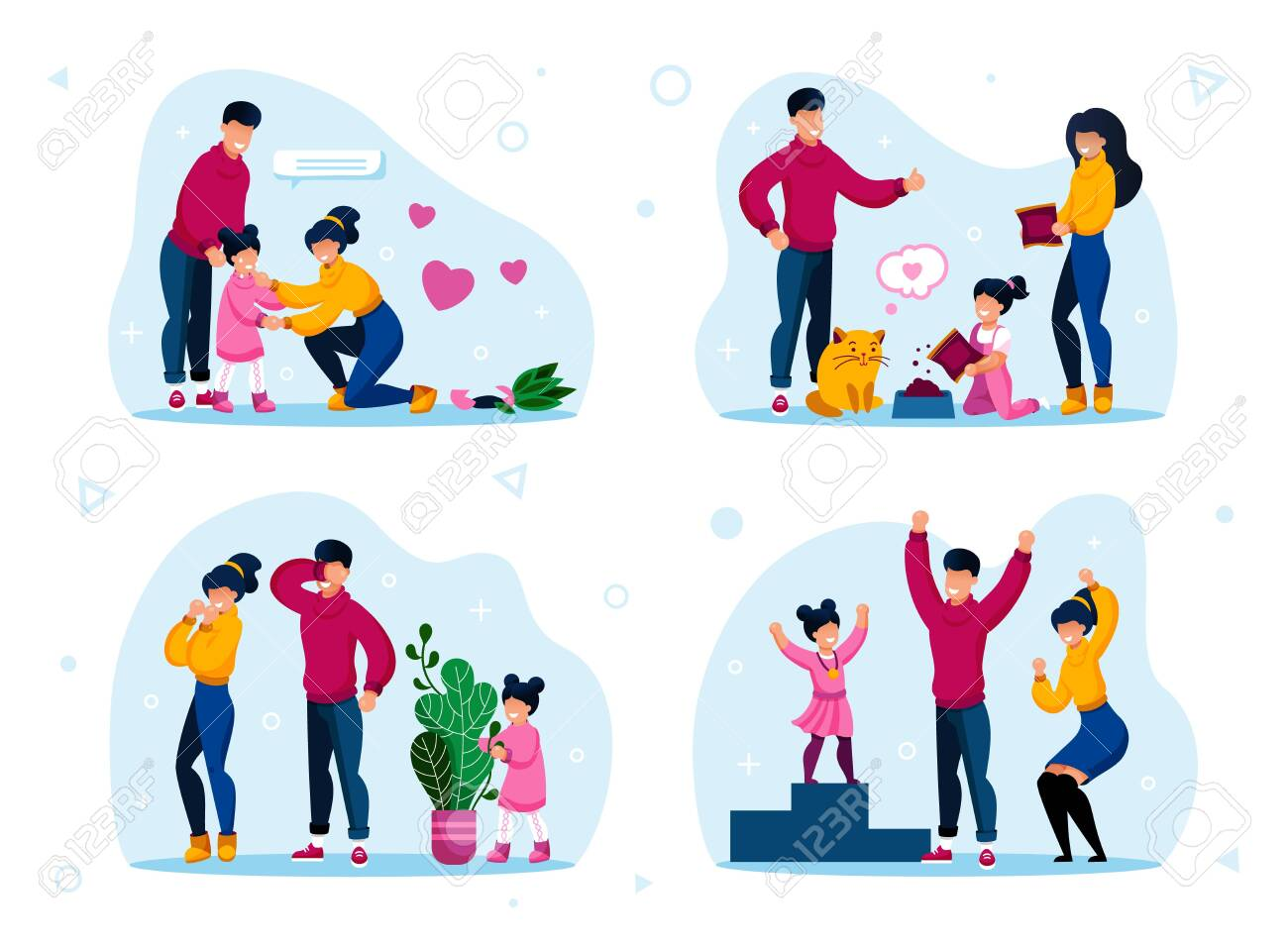 Responsible Parenthood Trendy Flat Vector Concept Set. Parents with Children Teaching Kid to Feed Pet, Playing in Hide-and-Seek, Supporting Worried Daughter, Celebrating Kids Achievement Illustrations - 143153942