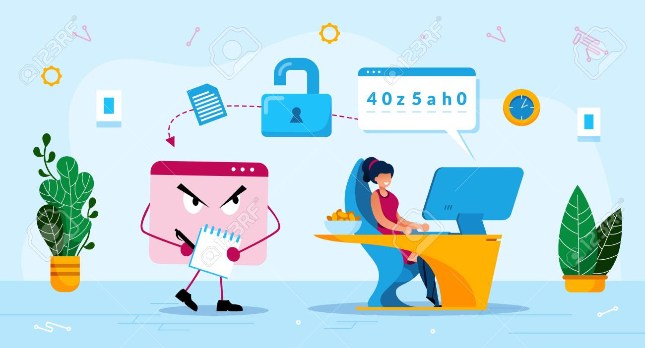 Online Phishing Trendy Flat Vector Concept. Malware Software, Trojan Stealing Password, Woman Using Computer, Losing Personal, Confidential Data or Information Because of Phishing Attack Illustration - 143153943