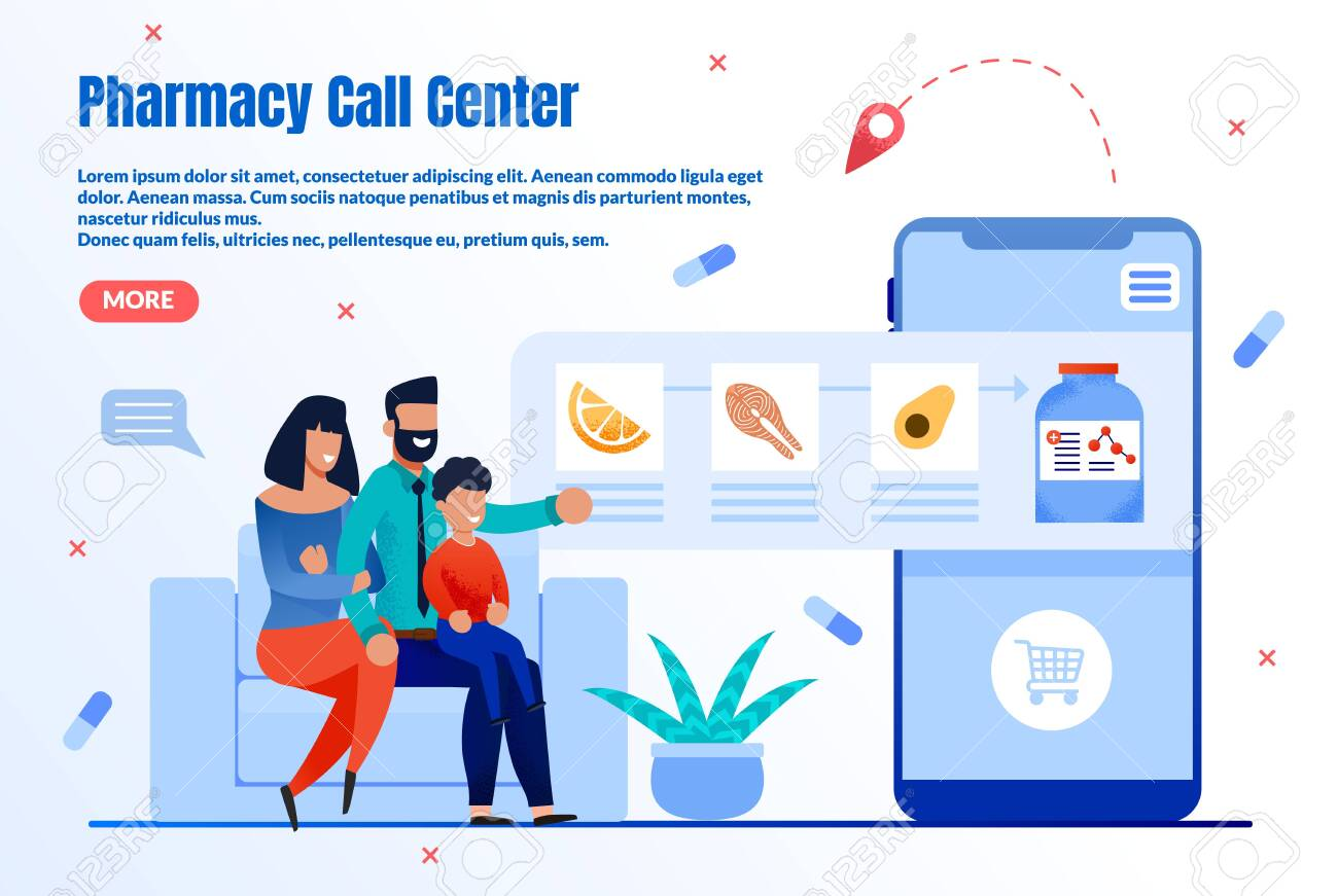 Pharmacy Online Helpdesk Trendy Flat Vector Web Banner, Landing Page Template. Happy Parents, Family Choosing and Buying Vitamins, Ordering Nutrition Supplements with Mobile Application Illustration - 143153948
