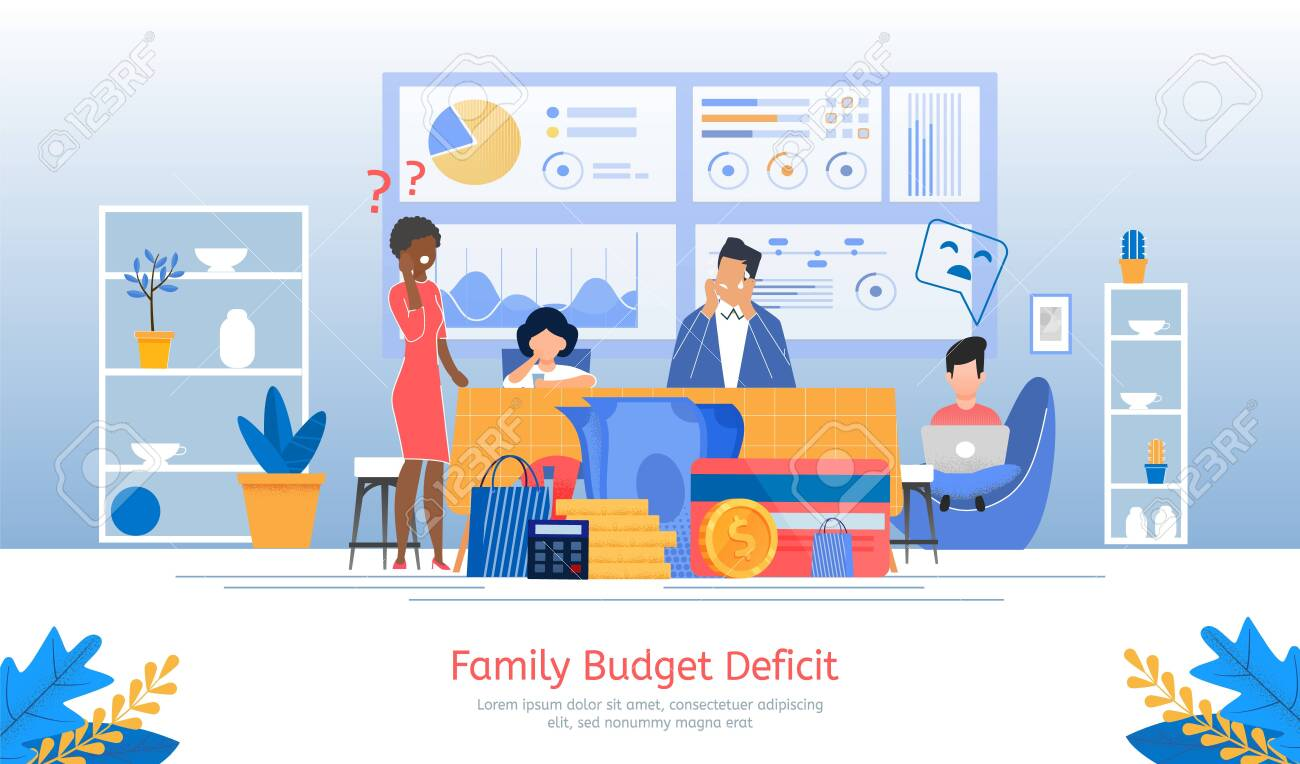 Family Budget Deficit, Financial Problems, Unemployment or Income Loosing, Loan Payment Past Due Banner, Poster. Parents with Children Worried Because Lack of Money Trendy Flat Vector Illustration - 143010903