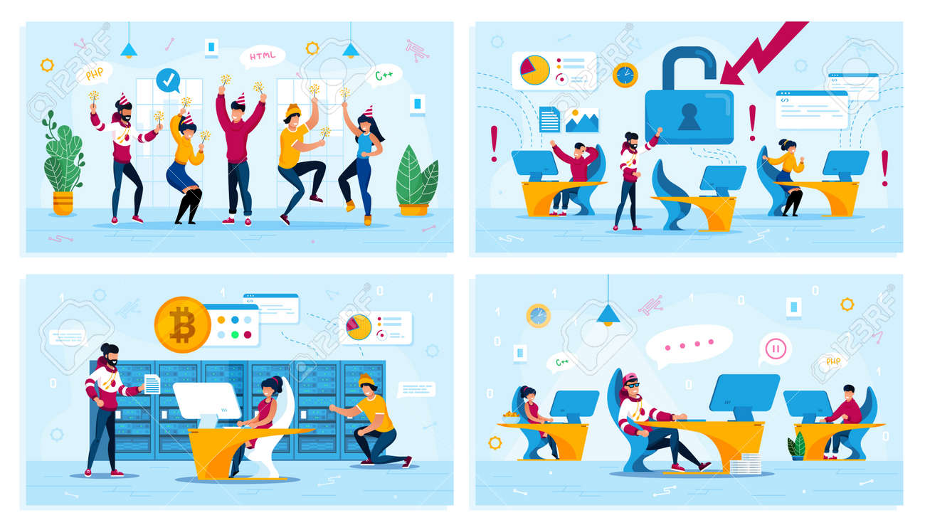 Corporate Party, Network Security, Bitcoin Trading, Employees Motivation Trendy Flat Vector Concepts Set. Dancing Coworkers, Employees in Panic, Miners Team, Procrastinating Programmer Illustration - 143010904