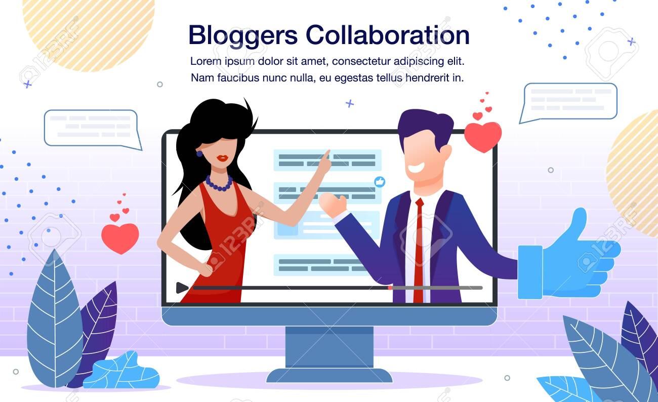Lifestyle or Business Bloggers Collaboration Banner or Poster Template. Man in Business Suit and Woman in Evening Dress Talking Together in Video at Computer Screen Trendy Flat Vector Illustration - 143010905