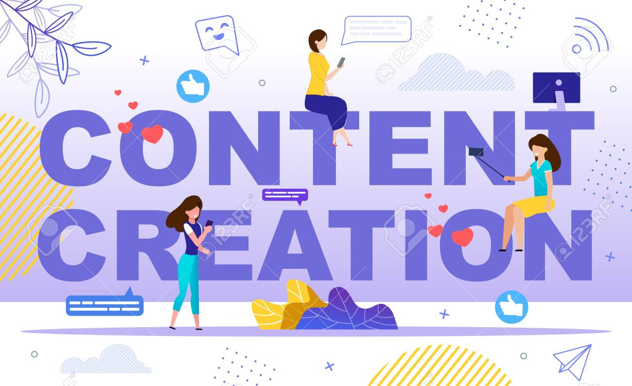 Creation of Popular Content for Social Media, Making Blog with Lot of Followers, Starting Vlog Channel Concept. Women Character Viewing Online Video, Shooting Selfie Trendy Flat Vector Illustration - 143010955