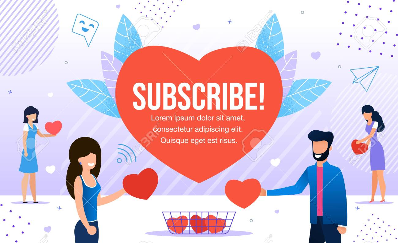 Subscribe Promotion in Red Heart for New Followers. Happy Friendly Smiling Man and Woman People Characters Giving Likes, Respect to Blogger in Social Media Metaphor. Marketing, SMM, CEO, Business - 143010952