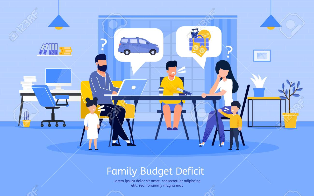 Family Budget Deficit, Planning Expenses with Limited Income, Financial Problems Banner, Poster. Sad Parents Decided to Save Money, Refusing from Summer Vacation Travel Trendy Flat Vector Illustration - 148488535