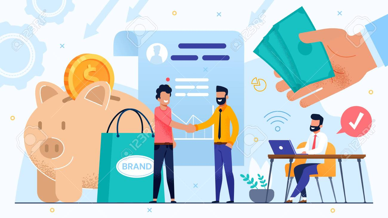 Brand Development by Means of Money Investment and Trust Partnership. Agreement and Dealership. Business Partner Handshaking, Executive Manager Make Note on Laptop. Huge Human Hand with Cash - 148488539