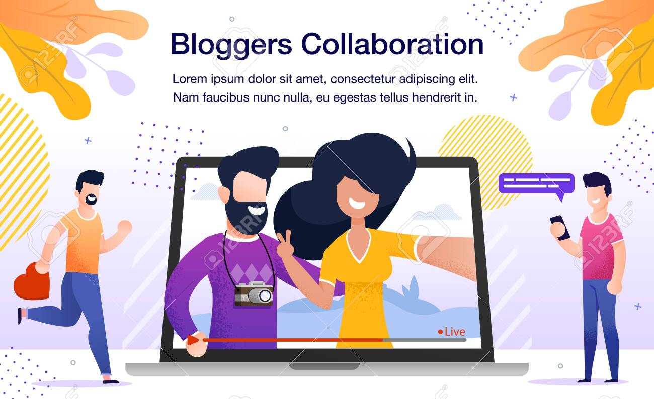 Travel or Lifestyle Bloggers Collaboration Banner or Poster. Man and Woman Streaming Live Video from Touristic Journey, Subscribers Watching Broadcast in Internet Trendy Flat Vector Illustration - 148488542