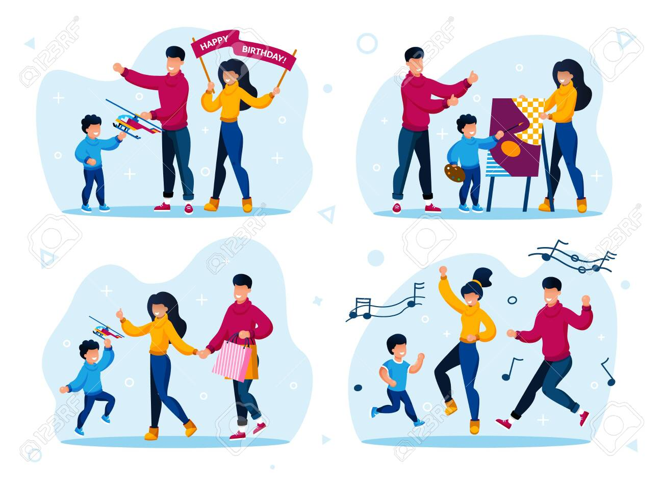 Parents with Children Active Life Trendy Flat Vector Concepts Set. Parents with Children Giving Son Toy on Birthday Party, Learning to Draw, Shopping on Sale, Dancing Together Isolated Illustrations - 148488545