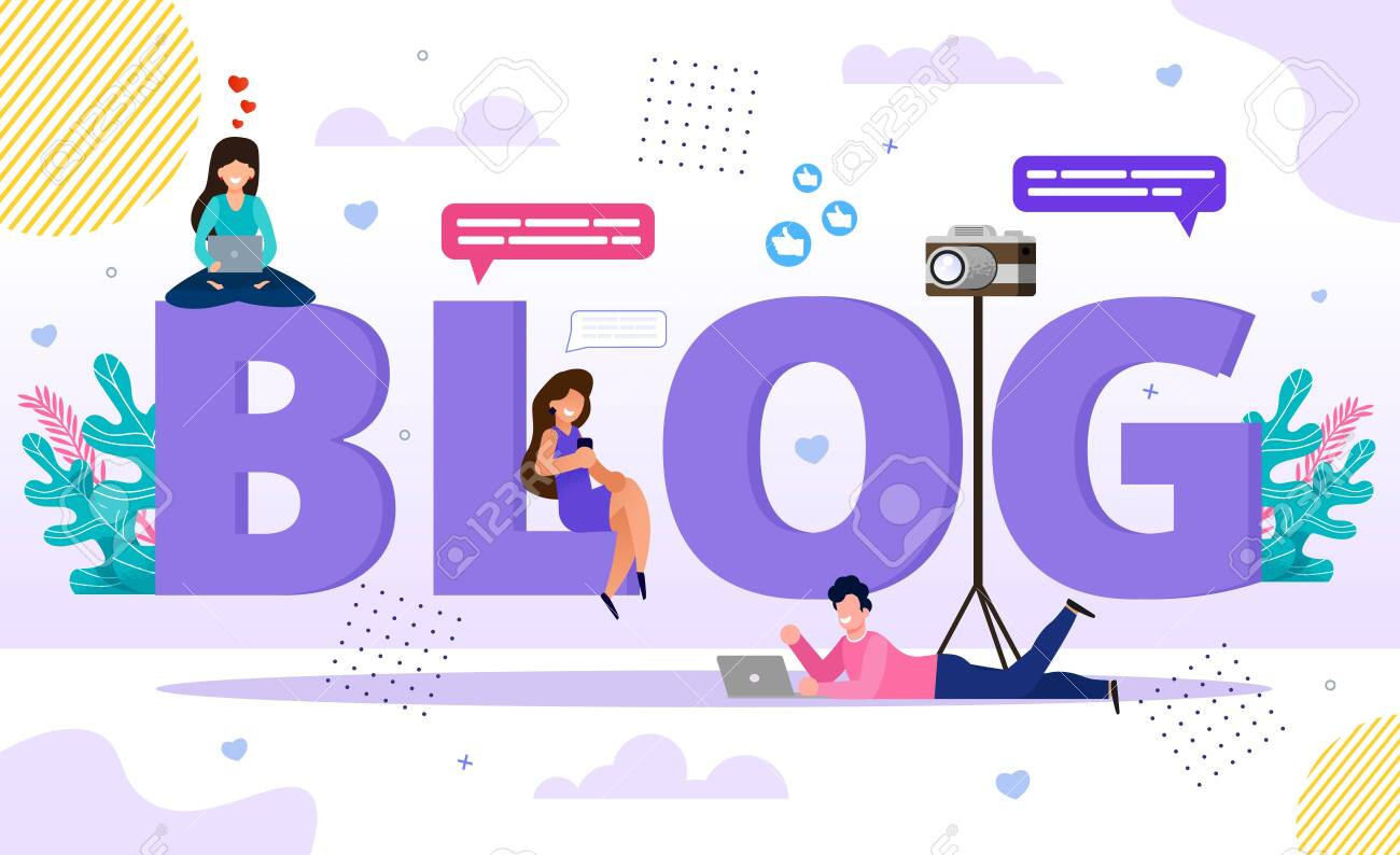 Blog Word Letters with Happy Tiny People Bloggers and Followers Using Smartphone and Laptop for Browsing, Video and Post Content Creation. Online Business E-Commerce and Communication Technology - 148488547