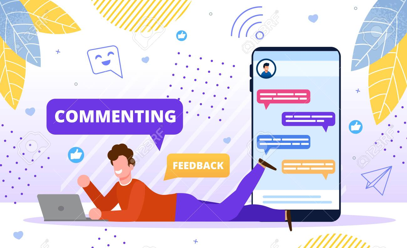 Commenting Online Content Concept. Blogger Follower, Subscriber, Online User, Man Commenting Post in Social Network, Chatting in Internet, Sharing Content for Friends Trendy Flat Vector Illustration - 148488550