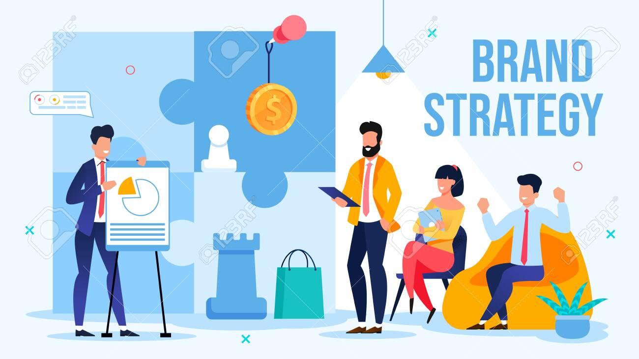 Businessman Offer New Brand Strategy on Briefing Meeting. Man Speaker Presenting Innovative Creative Plan for Branding Showing Project Benefits. Conference, Presentation. Vector Illustration - 148488552