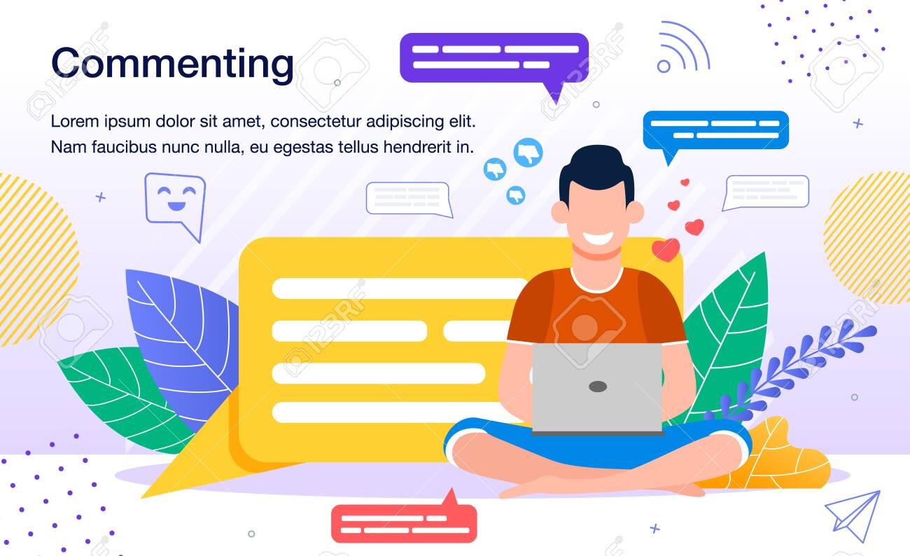 Commenting in Social Networks, Online Audience Activity Banner, Poster Template. Computer User, Man Leaving Feedback, Sharing Opinion, Writing Message in Social Media Trendy Flat Vector Illustration - 148488558