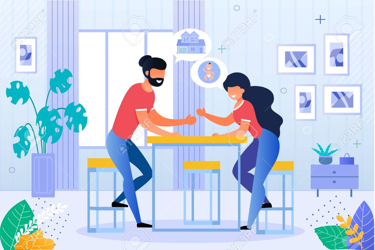 Happy Husband and Wife Discussing Future Plan. Man and Woman Married Couple Planning House Purchase and Pregnancy Beginning. Newlyweds Sitting at Table in Home Living Room. Vector Illustration - 143606689