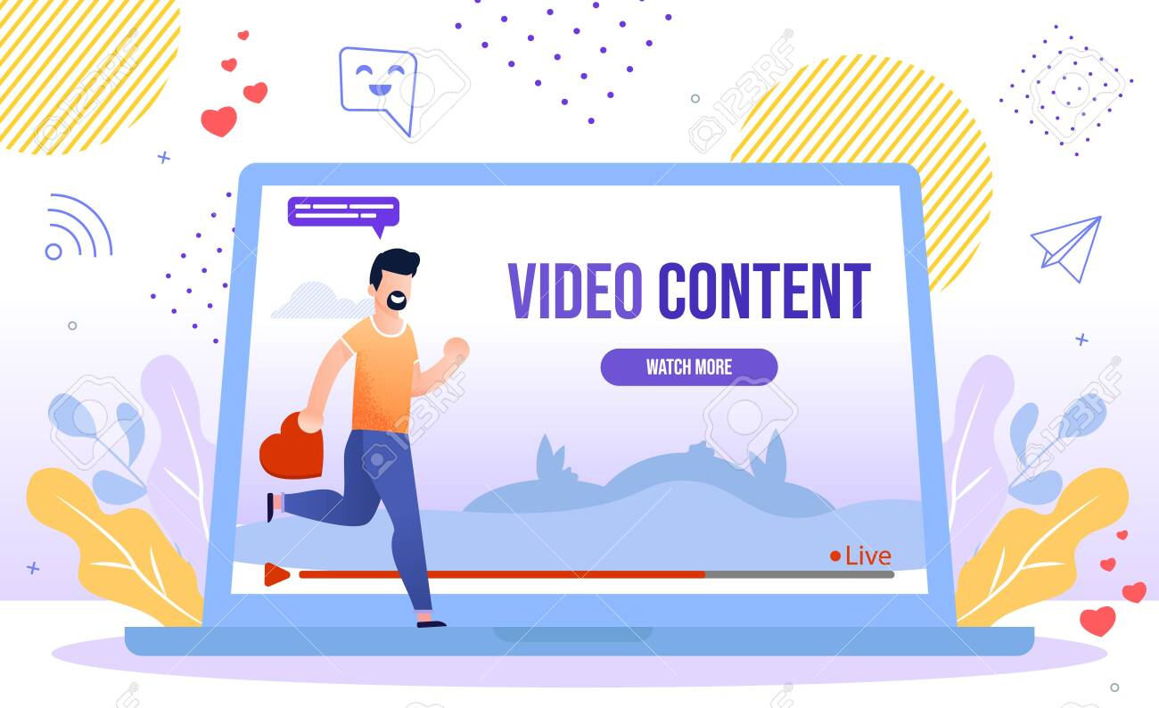 Popular and Trendy Video Content, Live Streaming Hobby, Social Media Viewer Concept. Man Hurrying to Watch New Video, Blogger Follower, Subscriber Liking and Sharing Content Flat Vector Illustration - 148488560