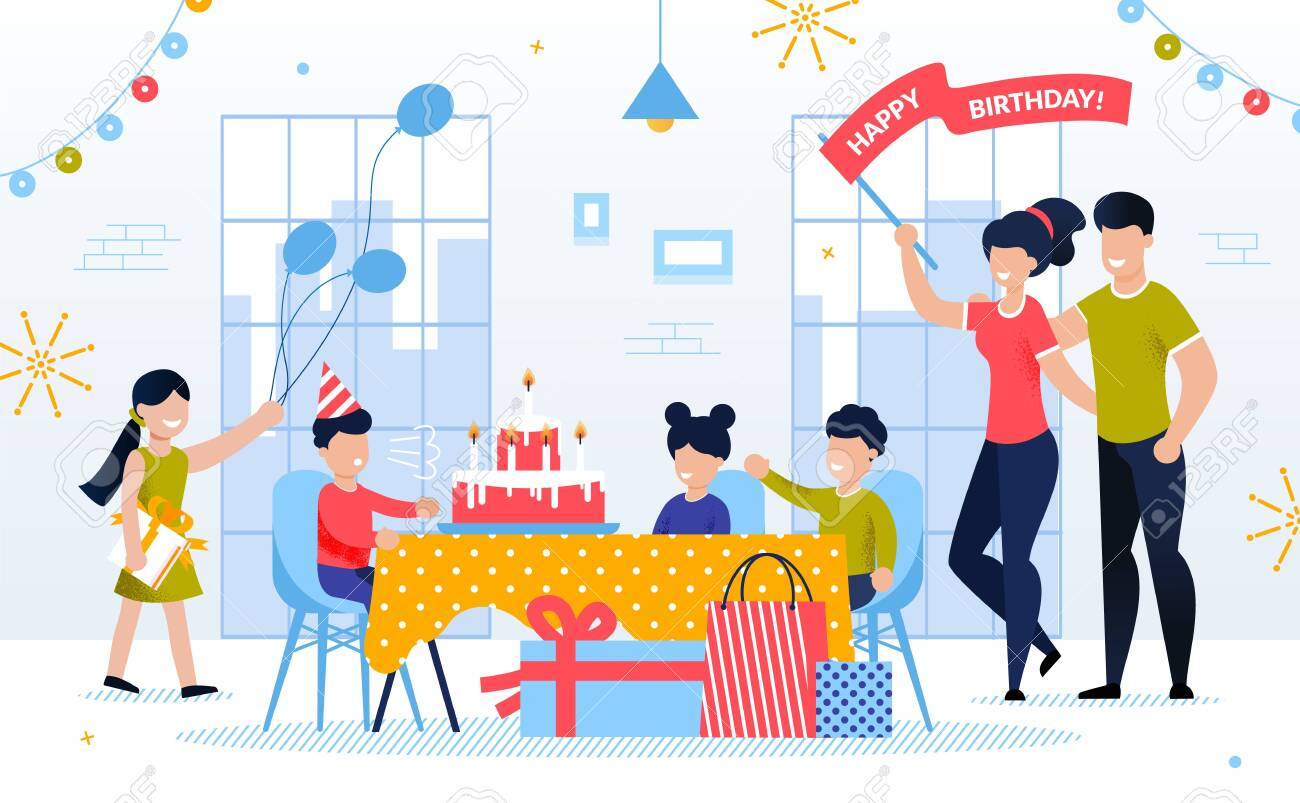 Happy Kid Birthday Celebration with Family and Friend. Boy Child Blowing Candle on Festive Cake. Children Giving Gift. Mother and Father Congratulate Son. Decorated Room Interior. Vector Illustration - 143667730