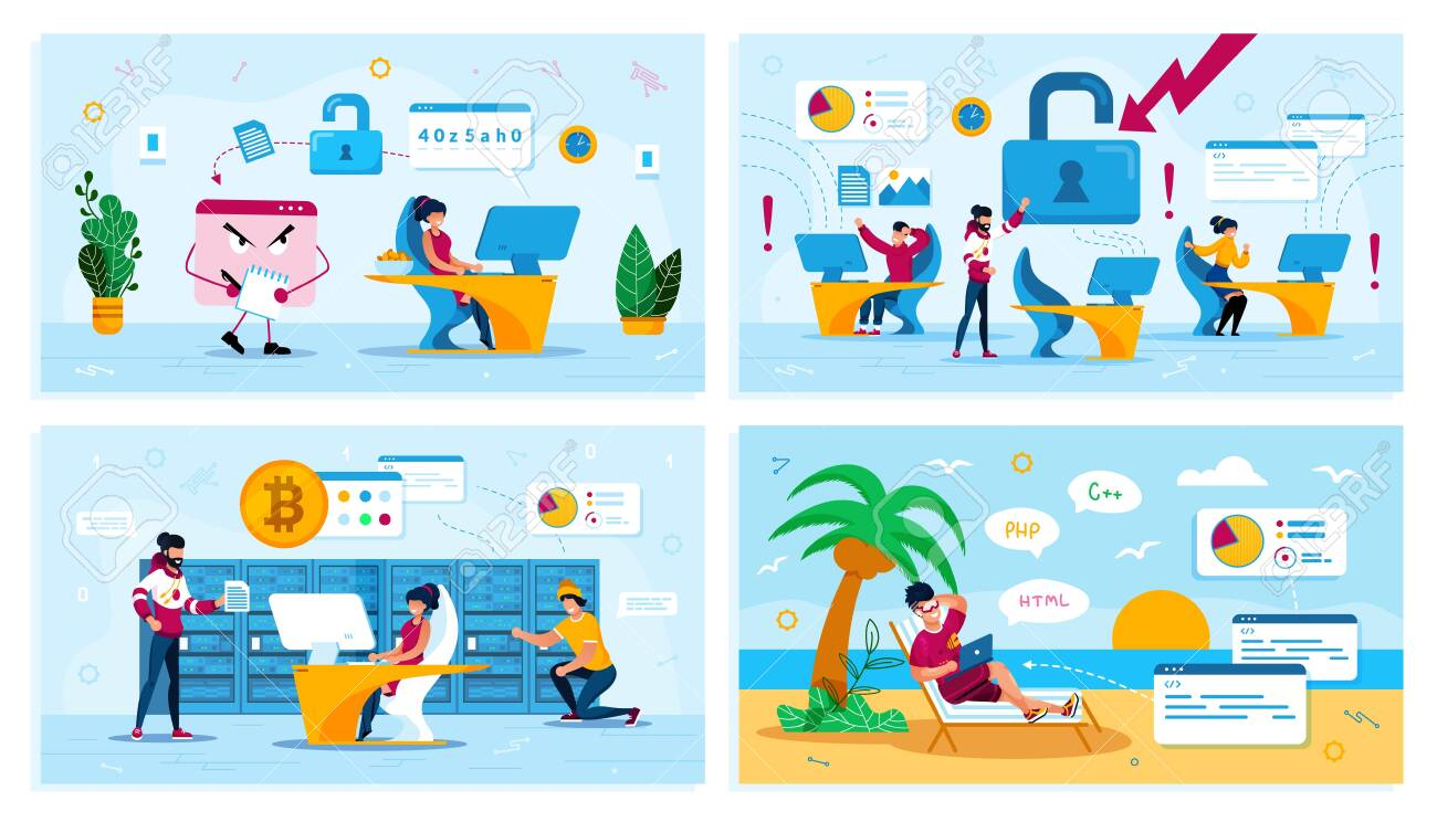 Online Security, Network Breakage, Bitcoin Trading, Digital Nomad Trendy Flat Vector Concepts Set. Trojan Stealing Data, Employees in Panic, Mining Farm Owners, Freelancer Works on Beach Illustration - 143667489