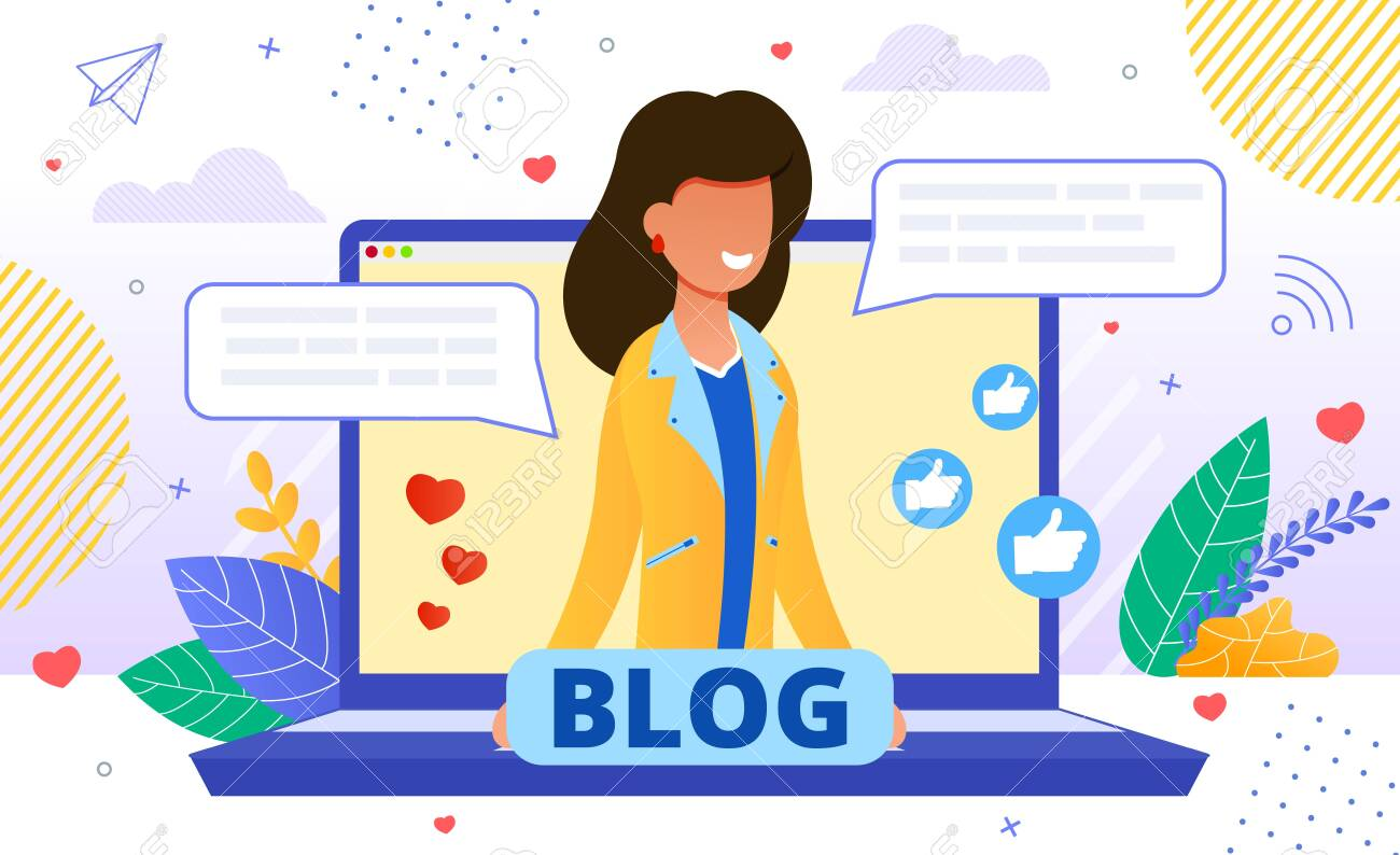 Friendly Smiling Blogger on Laptop Screen Promoting Personal Blog. Girl Offering Services and Goods for Followers Online and Receiving Likes Positive Feedback. Influencer Marketing and Blogging - 144192917