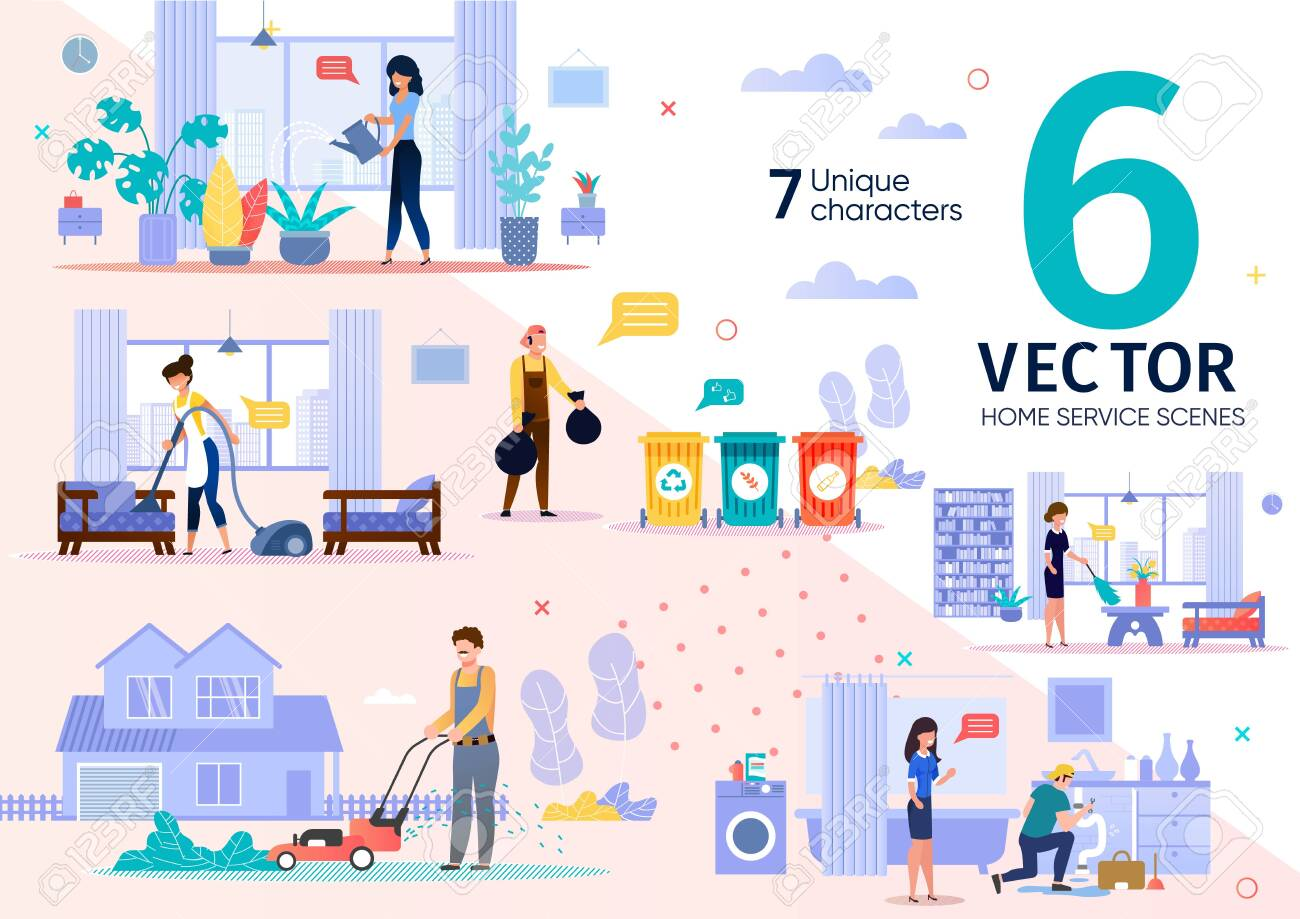 House Cleaning, Plumbing Service Employees Routine Trendy Flat Vector Scenes Set. Female, Male Workers Characters Throwing Out Waste, Moving Lawn, Repairing Pipe Leakage, Dusting at Home Illustrations - 144192976