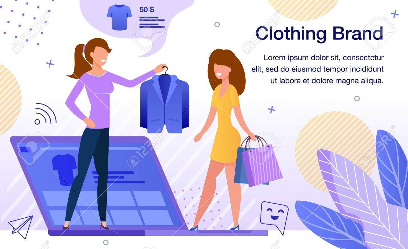 Women Clothing Brand Online Store or Shop Advertising Banner, Promo Poster Template. Lady Choosing and Purchasing Jacket in Internet, Blogger Recommending Product Trendy Flat Vector Illustration - 144192978