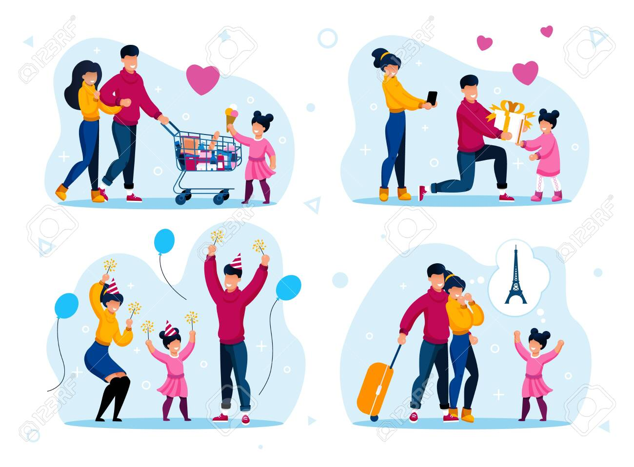 Family Celebrations and Recreation Trendy Flat Vector Concepts Set. Parents with Children Shopping in Supermarket, Having Fun on Party, Celebrating Birthday, Going on Vacation Journey Illustration - 144192983