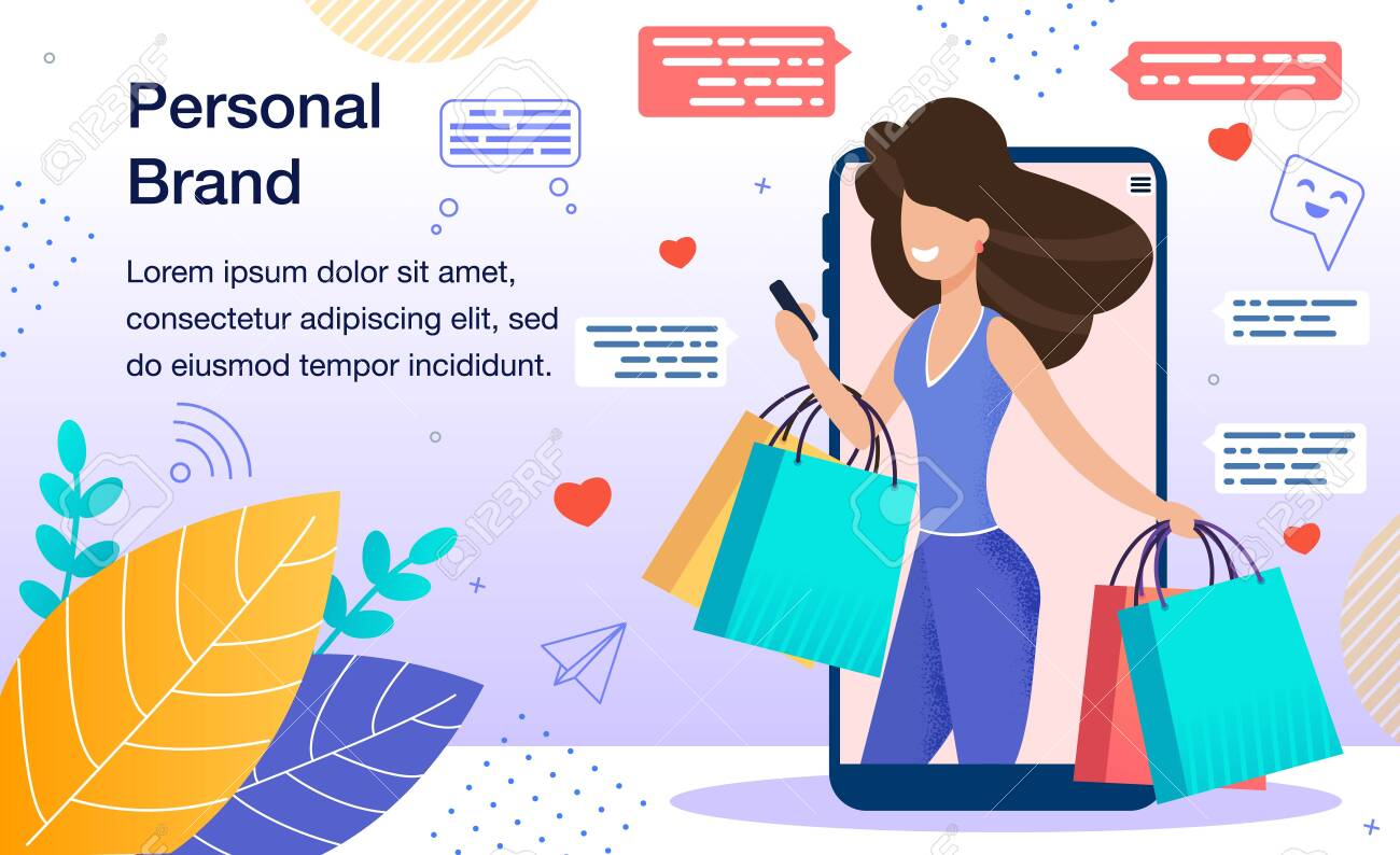Personal Branding Marketing Strategy, Promoting Company, Product or Service with Personal Name Banner, Poster. Woman with Shopping Packets in Hands Using Smartphone Trendy Flat Vector Illustration - 146451551