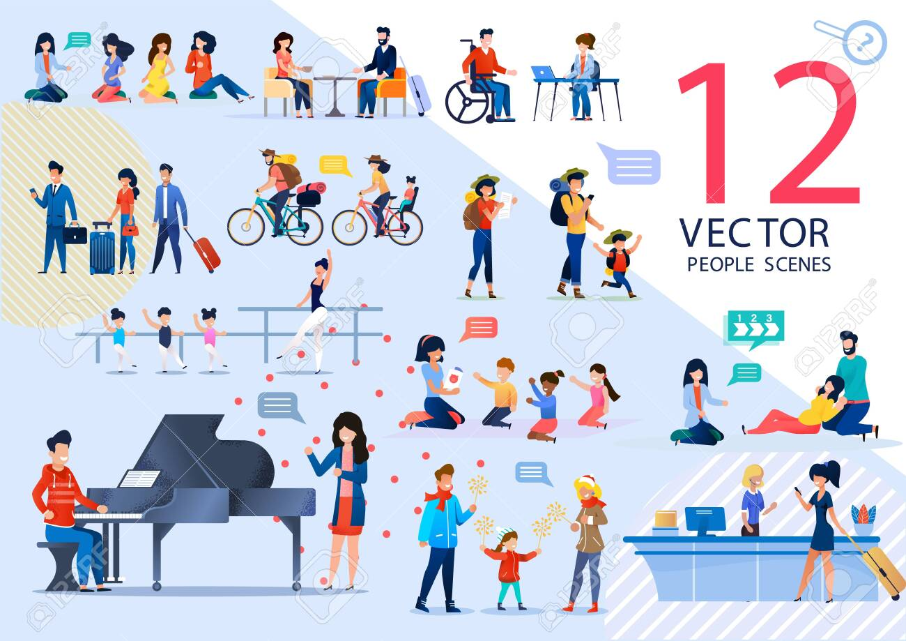 People Active Lifestyle and Relationships, Kids Education, Childbirth Prepare Trendy Flat Vector Scenes Set. Pregnant Women, Traveling Couple, Learning Children, Tourists Characters Illustrations - 146451552