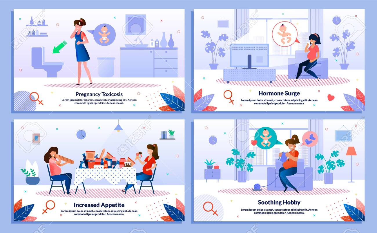 Pregnancy Toxicosis, Hormone Surge and Appetite, Hobby Trendy Flat Vector Banner, Poster Set. Lady Feeling Nausea, Feels Mood Changes and Sweating, Eating Unhealthy Food, Knitting at Home Illustration - 146451554