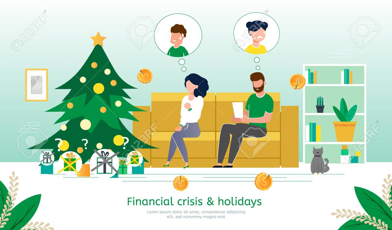 Winter Holidays Celebration in Financial Crisis, Family Budget Deficit Trendy Flat Vector Banner, Poster Template. Parents Worrying Because Lack of Money on Christmas Gifts for Children Illustration - 144312021