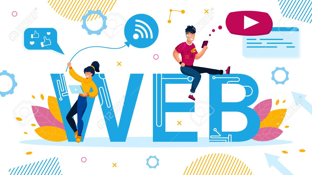 Web Design for Social Media, Video Application on Digital Device. Advertising Poster with Tiny People Laptop and Smartphone User Standing Sitting on Capital Letter. Wireless Tech Vector Illustration - 146451555