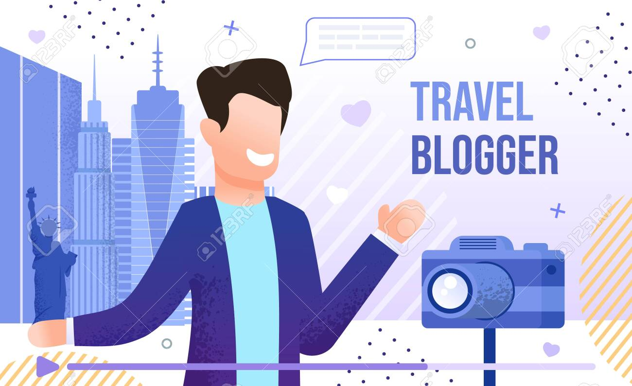 Travel Blogger, Vlogging Tourist or Traveler, Live Stream from Vacation Journey Concept. Man Visiting Foreign Country, Recording Video with Camera on City Street Trendy Flat Vector Illustration - 146451556