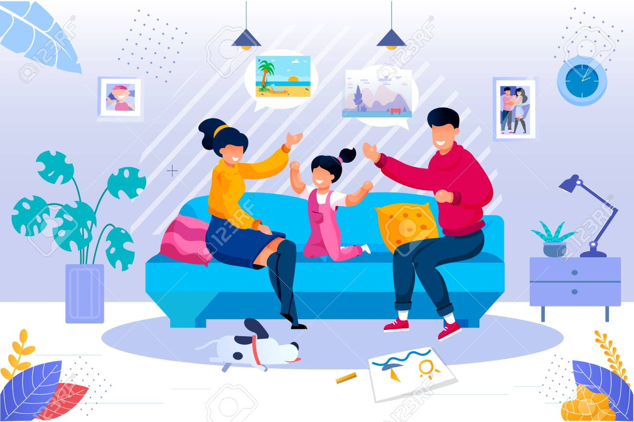 Smiling Parent Playing with Cheerful Daughter Kid Sitting Together on Couch in Living Room at Home. Happy Family Evening Recreation and Pastime. Togetherness Activity. Vector Illustration - 144319156