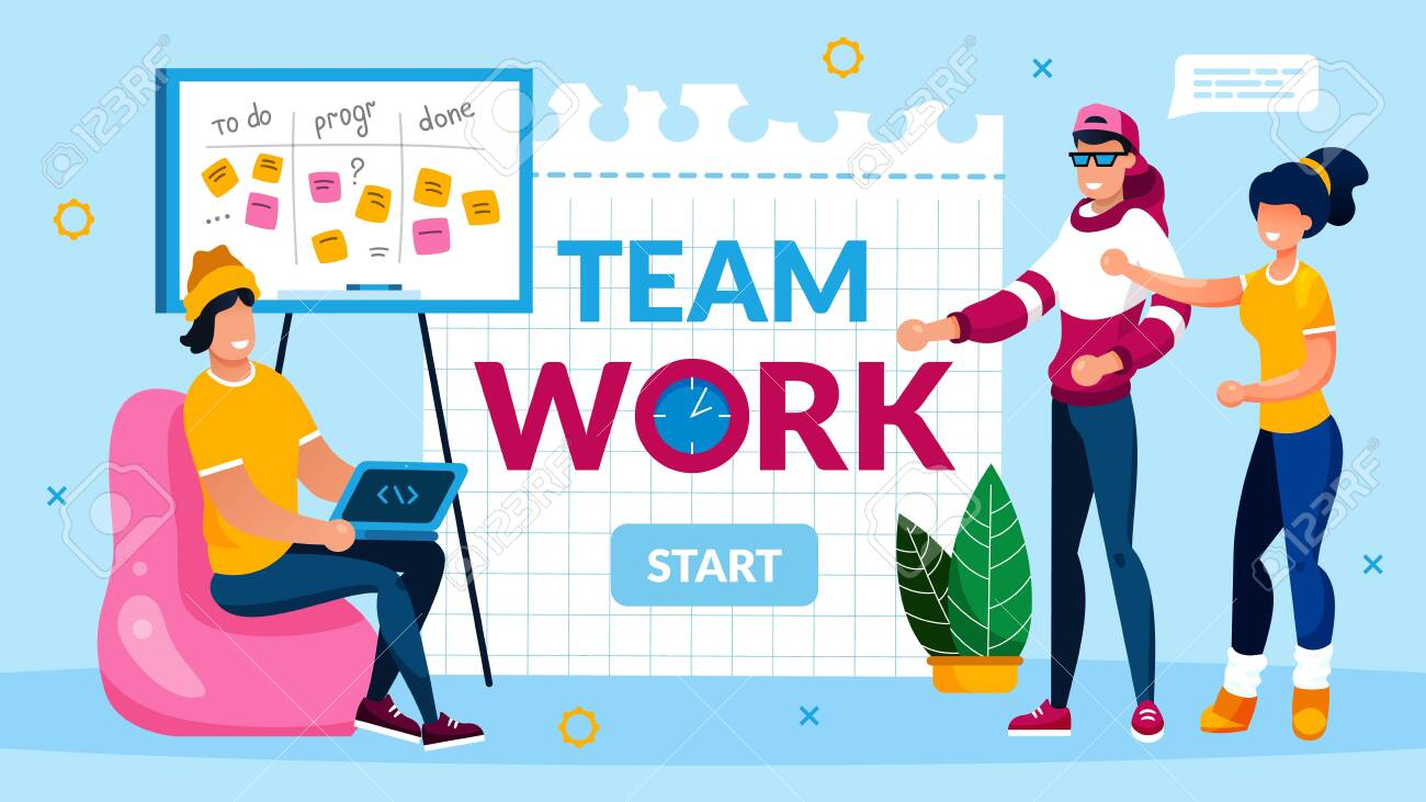 Teamwork Collaboration and Support Motivation. Programmer Team Support and Help Coworker with Deadline. Software Development and Optimization. Banner with Start Button. Vector Illustration - 144499973