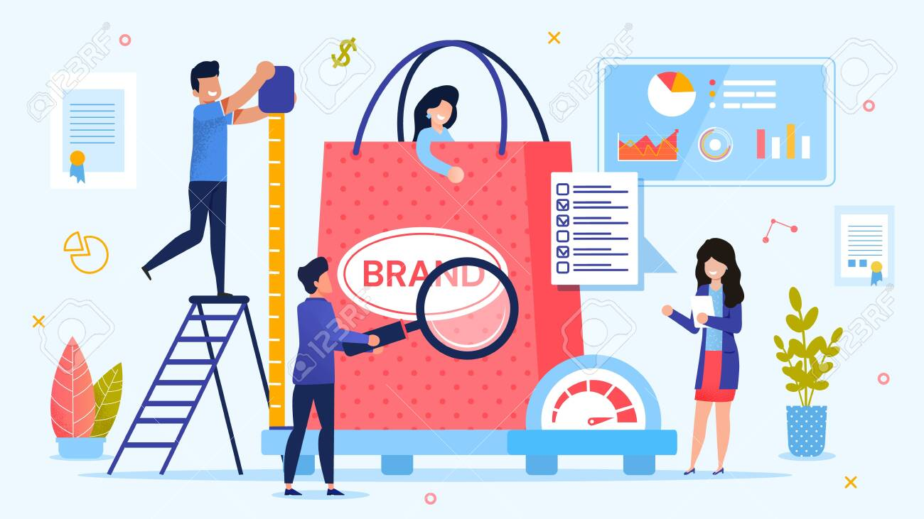 Personal Branding Technology. Brand Testing Process. Woman Customer in Shopping Bag on Weight Scale. Man with Ruler Measuring Size. Lady with Checkup List. Team Marketer. Metaphor Vector Illustration - 144499894