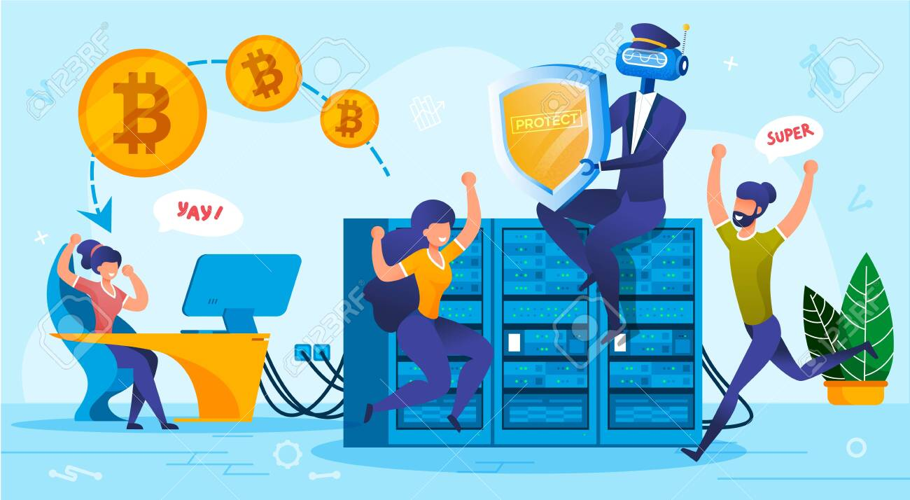Financial Bitcoin Cloud Storage System Security. Innovative Digital Technology from Hacking, Cyber Crime, Virus. Robot Artificial Intelligence Provide Shield Protection. People Rejoice New Opportunity - 144840150