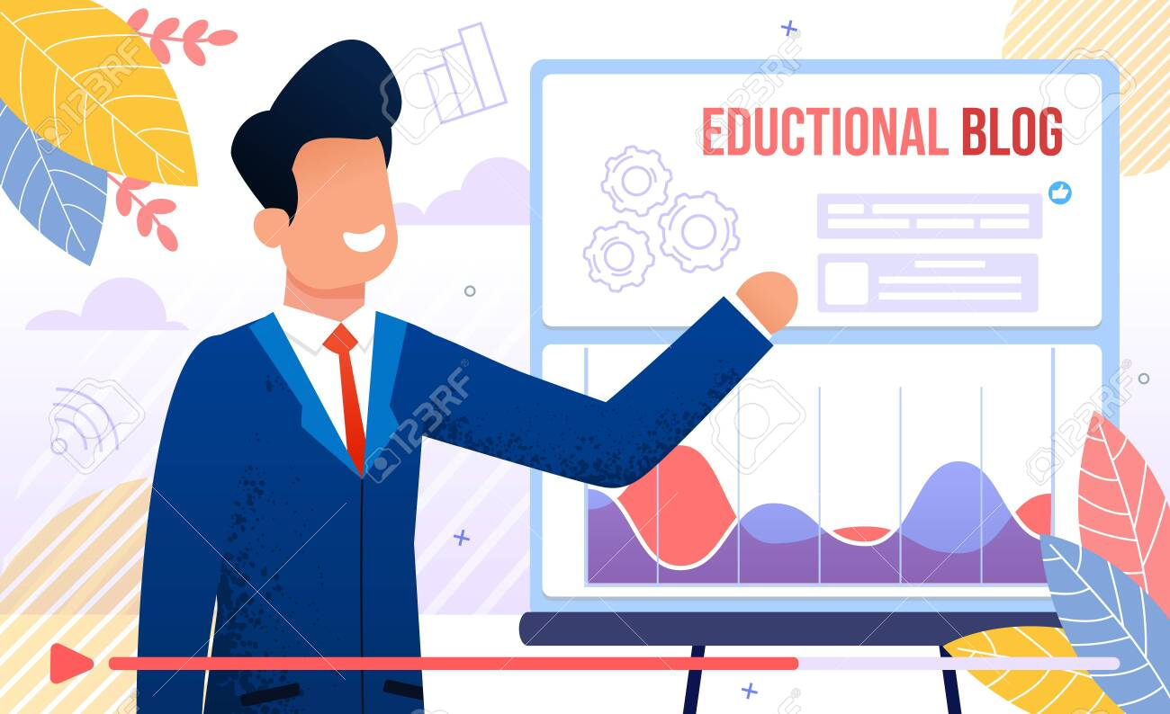 Educational Blog, Business Training or Courses, Financial Adviser Seminar, Business Career Planning Lecture Concept. Successful Businessman Teaching Online Audience Trendy Flat Vector Illustration - 144840139