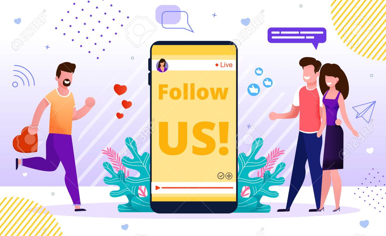 Internet Blog Online Advertisement SMM Banner. Influencer Marketing Strategy, Social Media Network Promotion. Follow us Sign on Mobile Screen. Followers and Positive Feedback Attraction. Joint Offer - 144840140