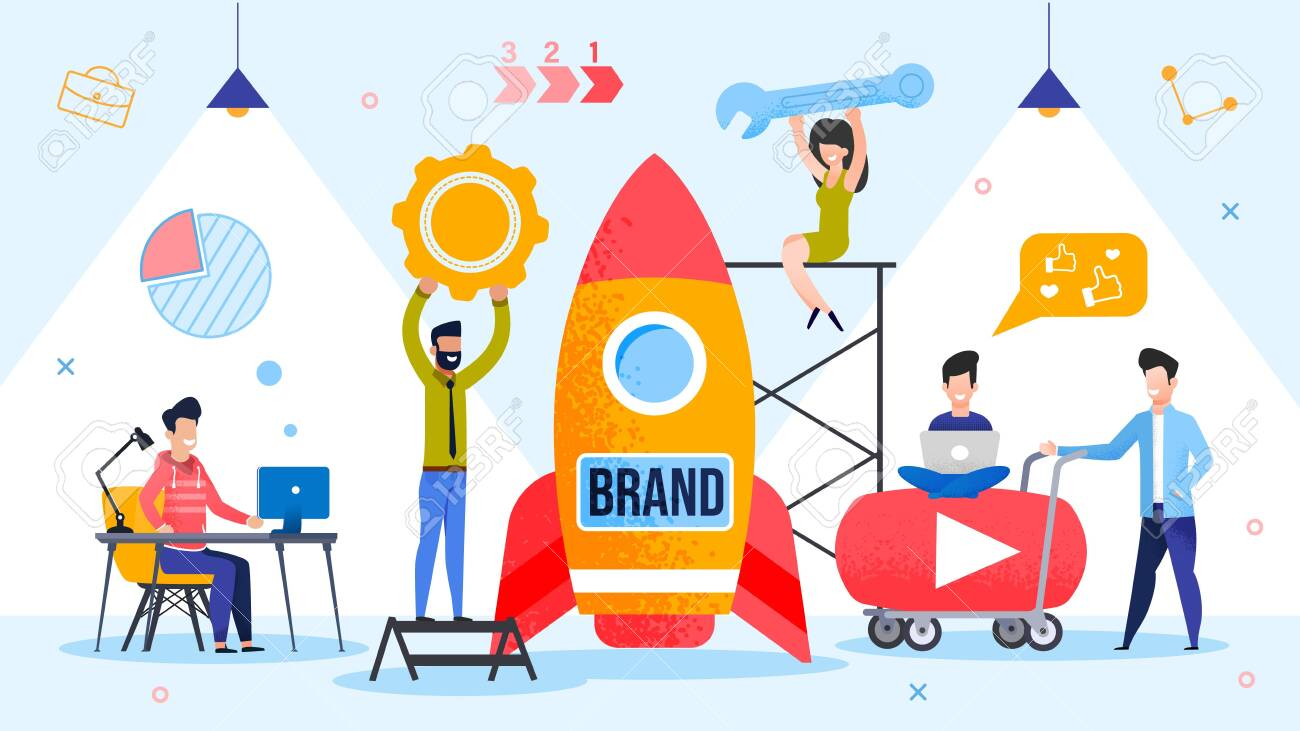 Brand Spaceship Rocket Launching. Successful Product Startup Process. People Marketer Team Using Branding Technology and Strategically Important Tool. Final Countdown. Metaphor Vector Illustration - 144583986