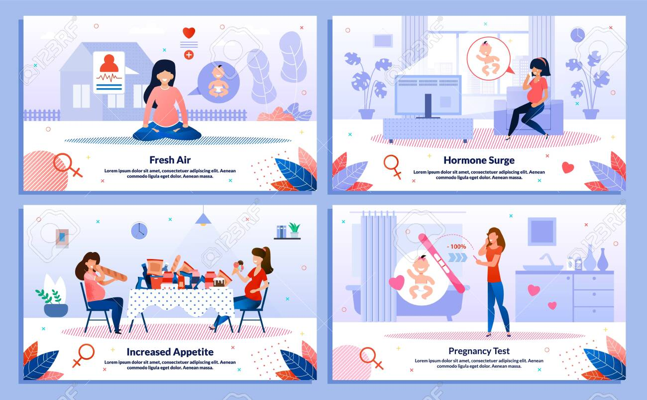 Pregnancy Test, Pregnant Woman Appetite, Hormone Surge, Outdoor Activity Trendy Flat Vector Banner, Poster Set. Lady Meditating, Feels Mood Changes, Eating Unhealthy Food, Looking on Test Illustration - 144840145