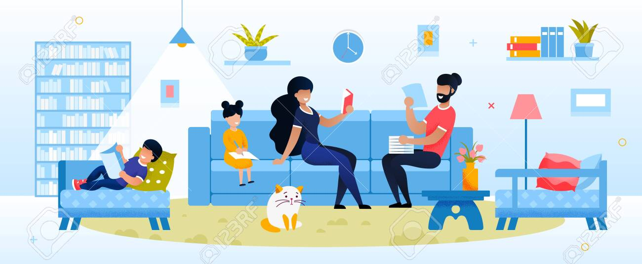 Happy Parent and Kid Engaged in Evening Activity at Home. Mother Father Reading, Daughter Son Doing Homework. Mom and Dad with Kid Rest in Living Room. Education and Development Vector Illustration - 144781753