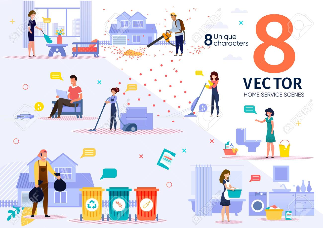 Home Cleaning Service Workers Activities and Routines Trendy Flat Vector Scenes Set. Female and Male Employees in Uniform Vacuuming Room, Washing Clothes, Sorting Waste, Moving Lawn Illustrations - 145022659