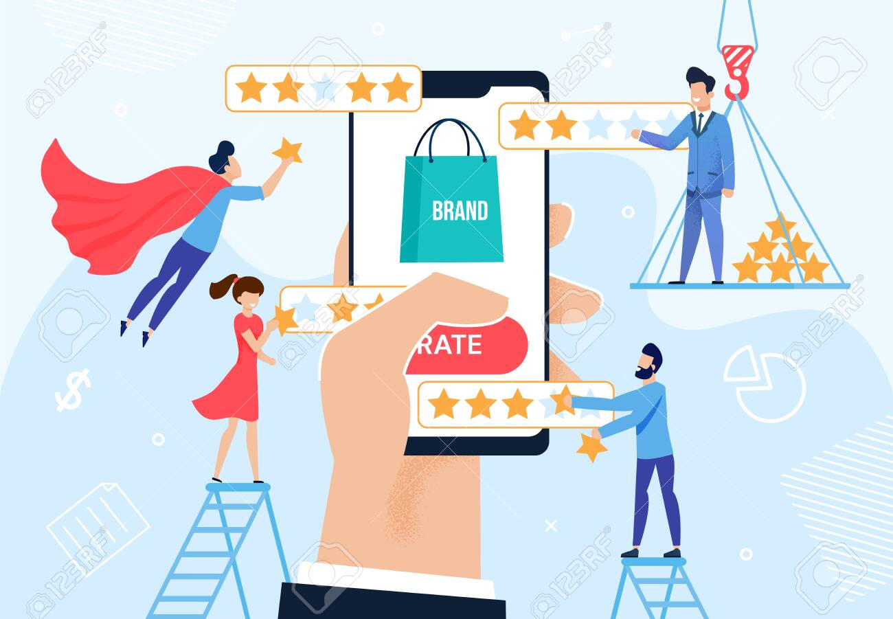 Brand Rating and Reputation Management Metaphor. Huge Human Hand Holding Phone with Trademark Logotype. Client, Viewer, User Giving Feedback. Customer Experience Optimization. Vector Illustration - 145022662