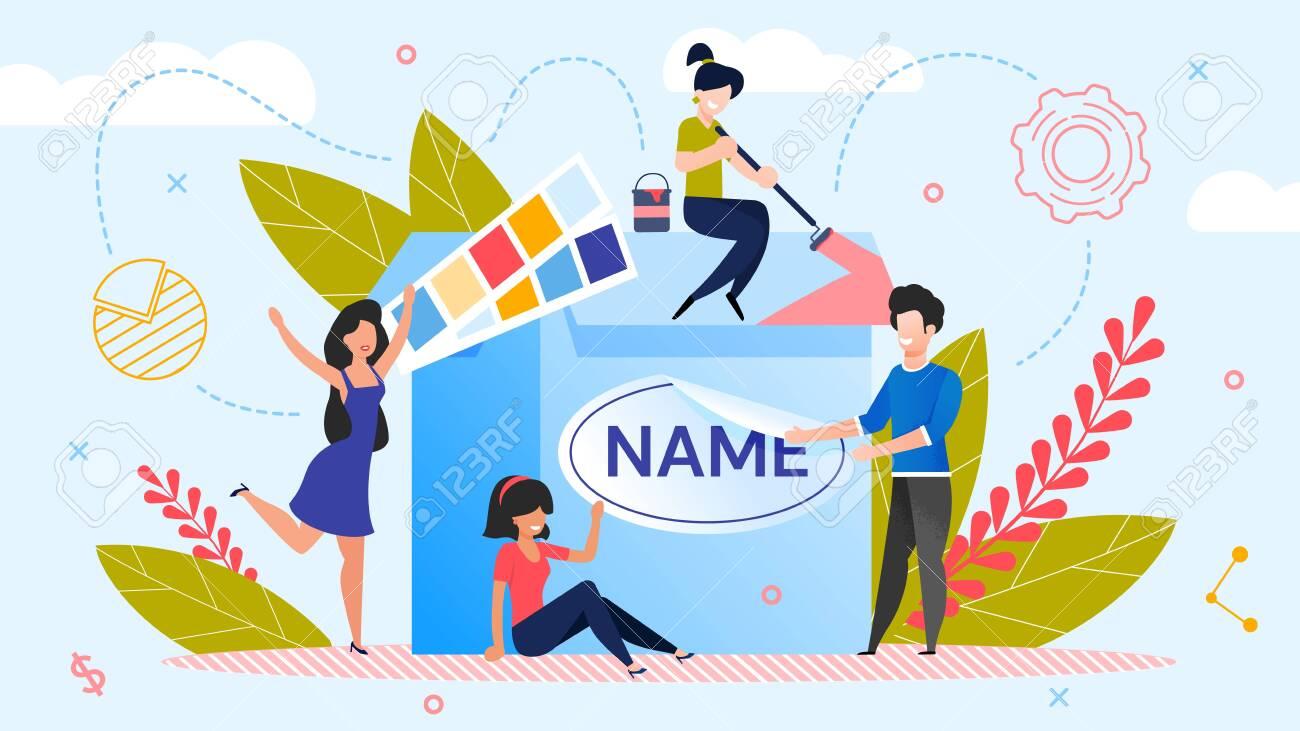 Brand Name Creation. Team Workflow Process. Woman Designer Working on Design. Man Marketer Changing Product Logotype. Rebranding. Awareness and Recognition Increase. Metaphor Vector Illustration - 144857954