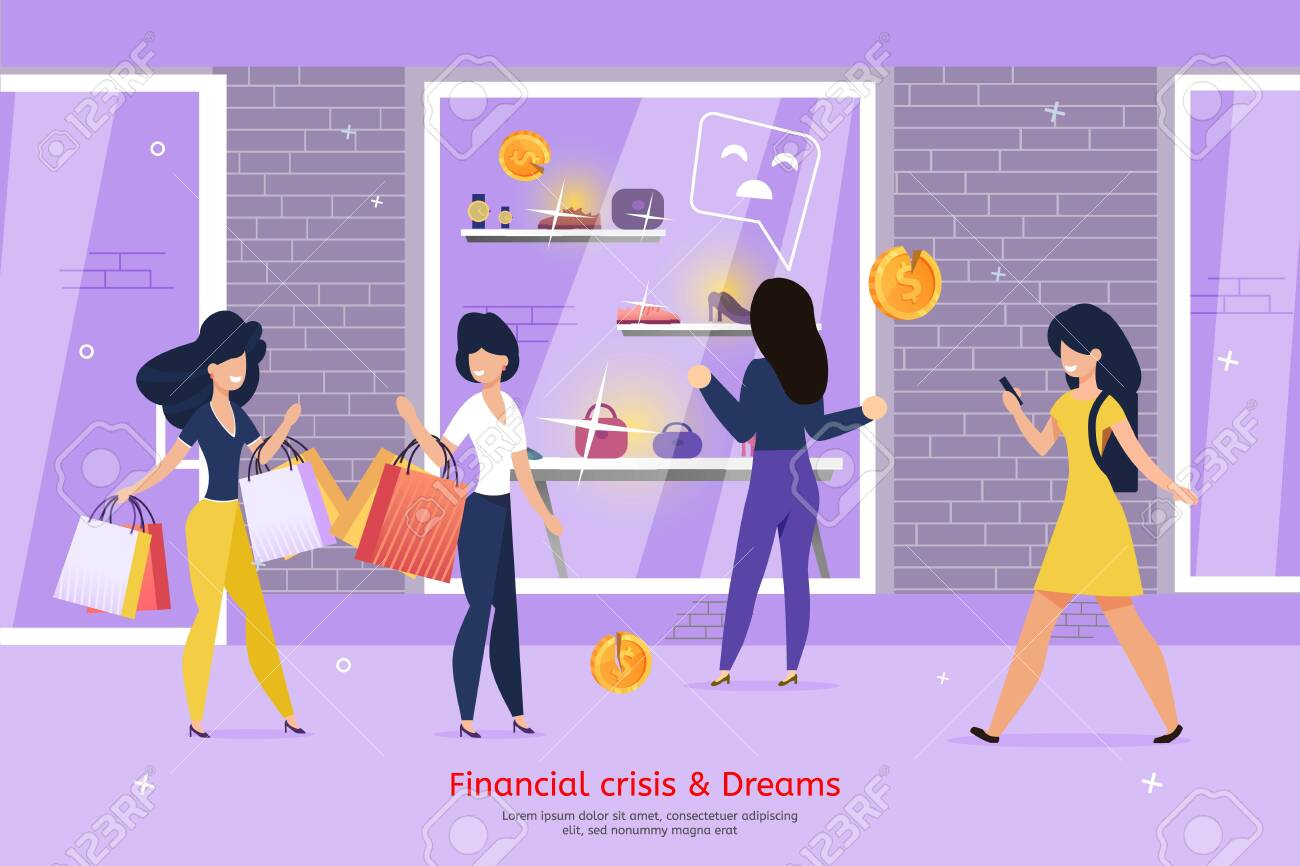 Financial Crisis and Consumer Dreams Fail, Low-Income and Lack of Money for Shopping Trendy Flat Vector Banner, Poster. Poor Woman Standing in Front of Shop Showcase with Expensive Goods Illustration - 145048388