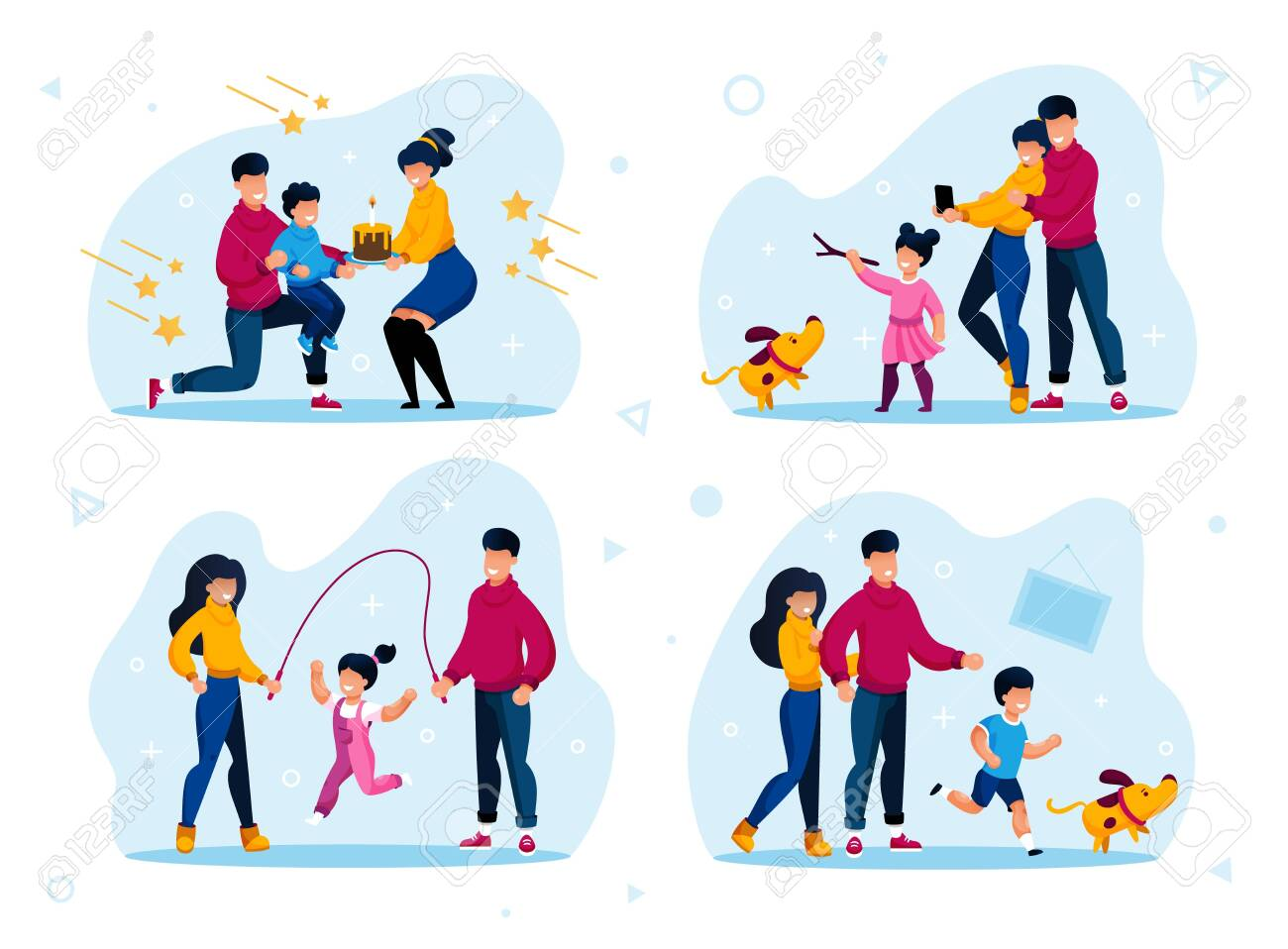 Family Relationships Happy Moments Trendy Flat Vector Concepts Set. Parents Celebrating Kids Birthday, Child Playing with Dog, Daughter Jumping on Rope with Father and Mother Isolated Illustrations - 145549488