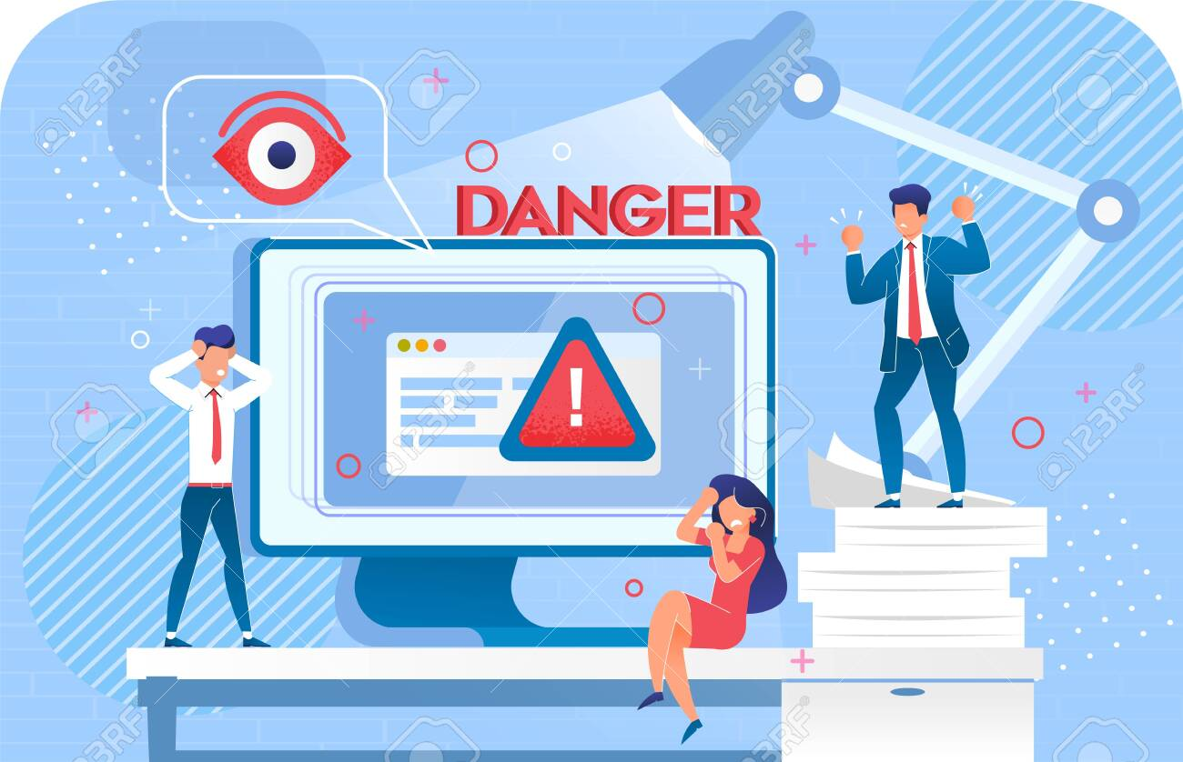 Security System Cyber Attack Hacking Danger Warning Signal. Scam Alert on Monitor. Data Protection Failure. Upset Office Worker Business People near Huge Computer under Lamp. Digital Protecting Eye - 145144336