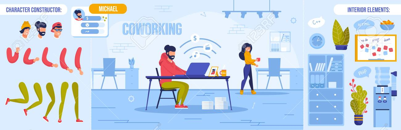 Coworking Space with Freelancer at Work. Man Woman Office Worker Character Constructor Set. Personal Info, Body Part Bundle, Interior Element Workplace Room Design Creation Kit. Vector illustration - 145549493