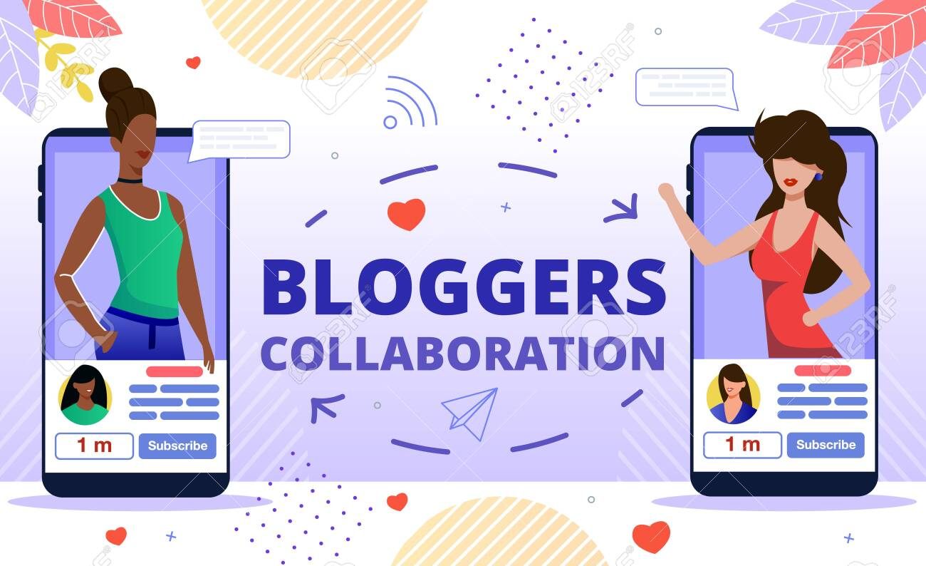 Popular Bloggers Collaboration, Creating Trendy Content for Internet, Social Media Audience Concept. Women Bloggers, Vloggers, Live Video Streamers Communicating Online Flat Vector Illustration - 145549495
