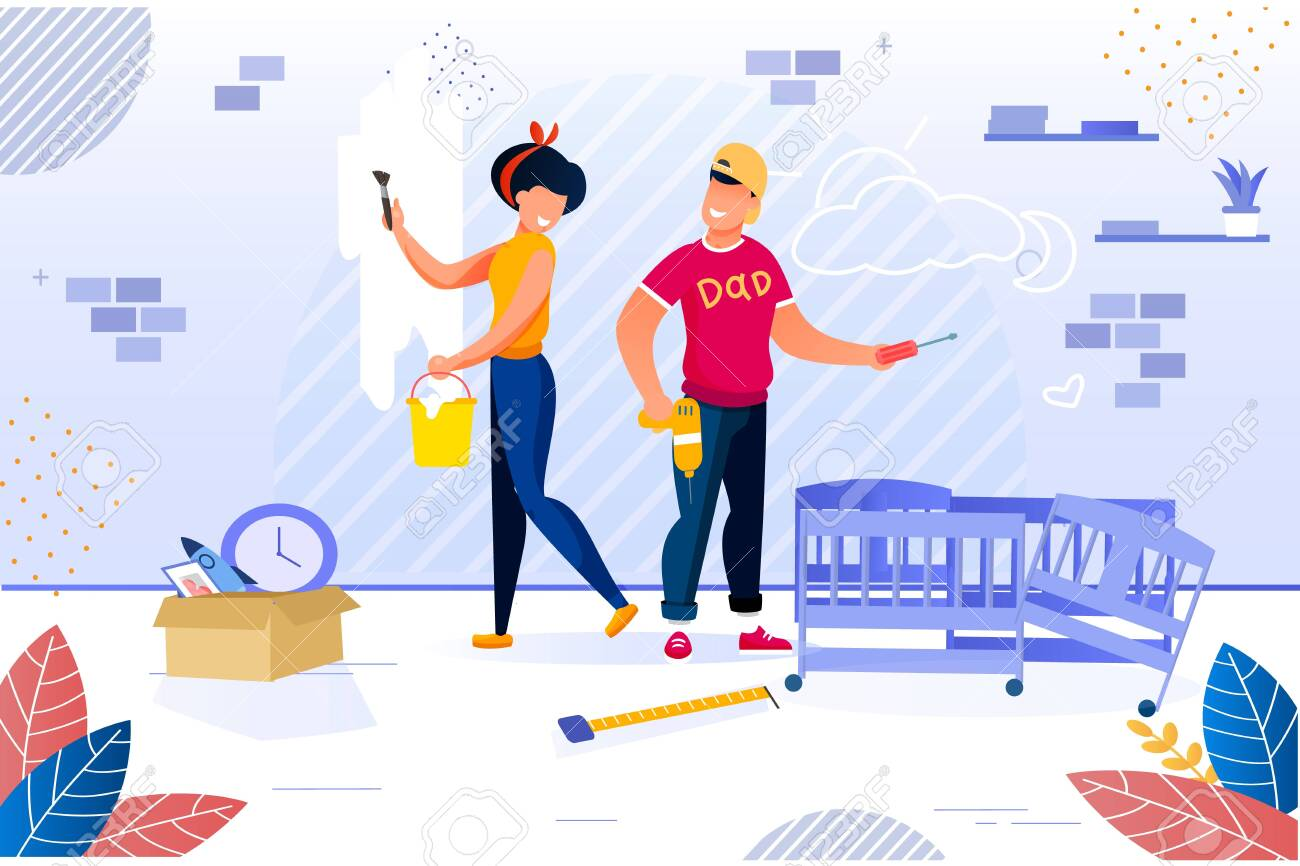 Happy Family Repairing Home. Newlyweds and House Renovation. Woman Painting Wall in Room. Man Constructing Baby Bed. New Apartment Repair after Moving. Childbirth Preparation. Vector Illustration - 145144187